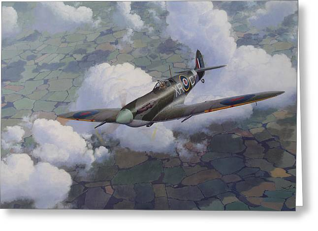 Spitfire Greeting Cards - Soaring Eagle Greeting Card by Steven Heyen