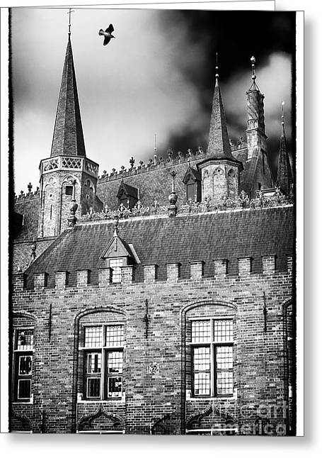 Soaring Tower Greeting Cards - Soaring in Bruges Greeting Card by John Rizzuto