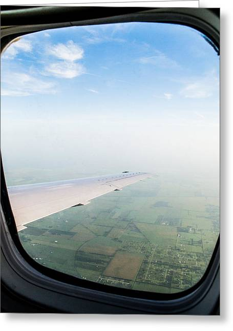 Window Seat Greeting Cards - Soaring Over Houston Greeting Card by Shelby  Young