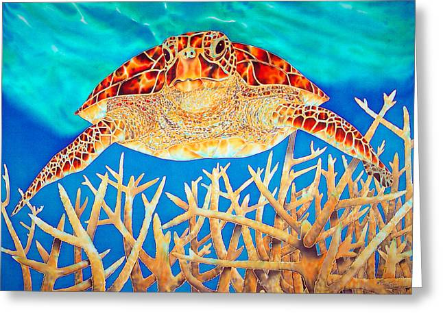 Silk Art Tapestries - Textiles Greeting Cards - Sea  Turtle Soaring over Staghorn Greeting Card by Daniel Jean-Baptiste