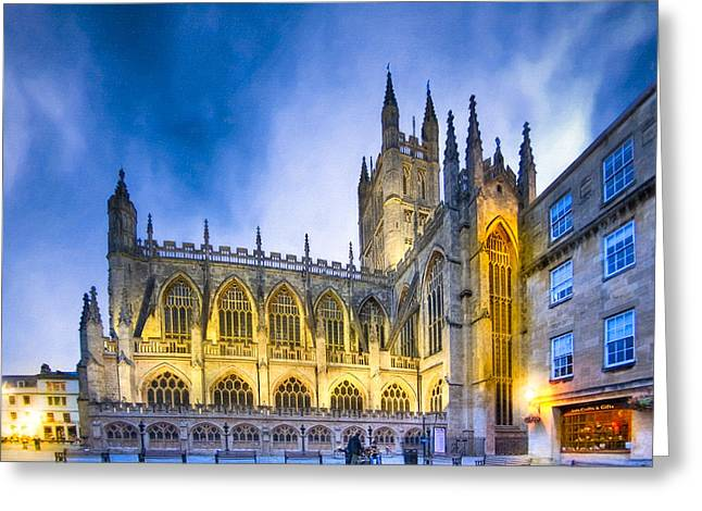 Perpendicular Greeting Cards - Soaring Perpendicular Gothic Architecture of Bath Abbey Greeting Card by Mark Tisdale