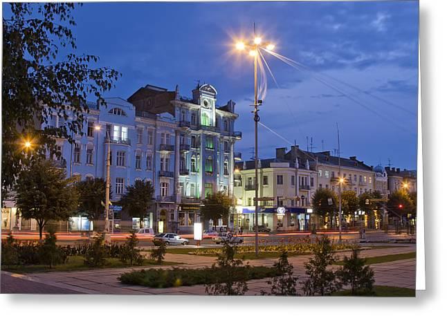 Soborna Street Vinnytsya Greeting Card by Zoriy Fine