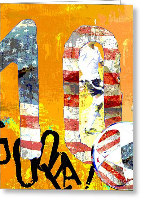Juvenile Wall Decor Mixed Media Greeting Cards - Soccer Americana Wall Decor Greeting Card by ArtyZen Studios - ArtyZen Home