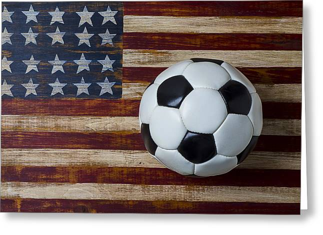Plaything Greeting Cards - Soccer ball and stars and stripes Greeting Card by Garry Gay