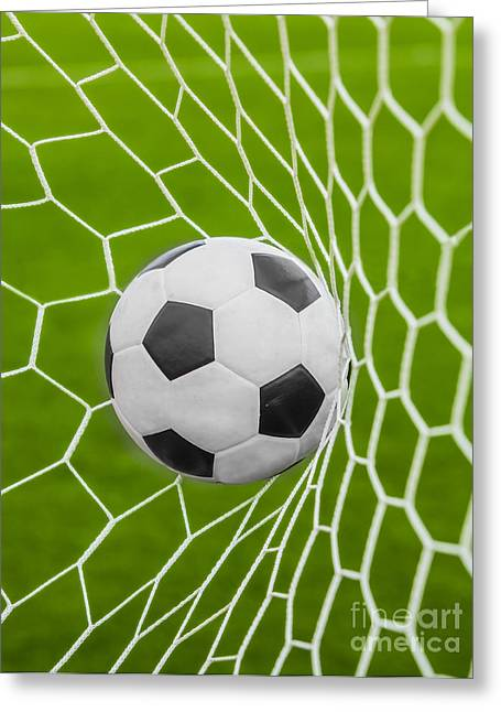 Sporting Activities Greeting Cards - Soccer Ball Greeting Card by Anek Suwannaphoom