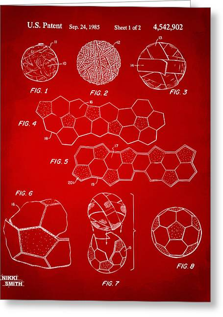 Soccer Ball Construction Artwork - Red Greeting Card by Nikki Marie Smith