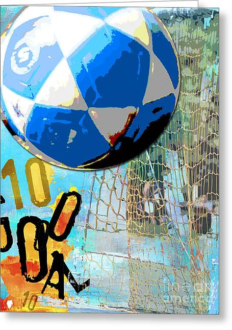 Kids Sports Greeting Cards - Soccer Ball Goal Greeting Card by AdSpice Studios