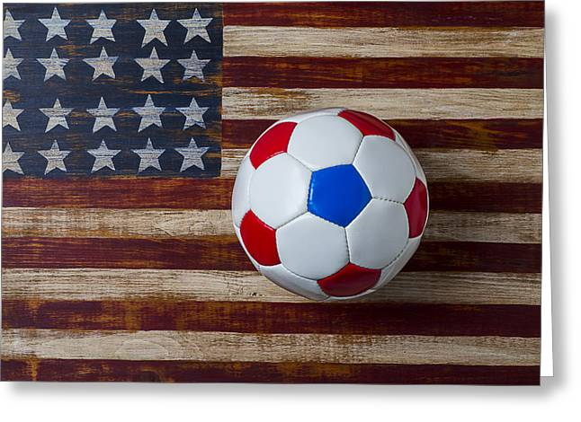 Plaything Greeting Cards - Soccer ball on American flag Greeting Card by Garry Gay