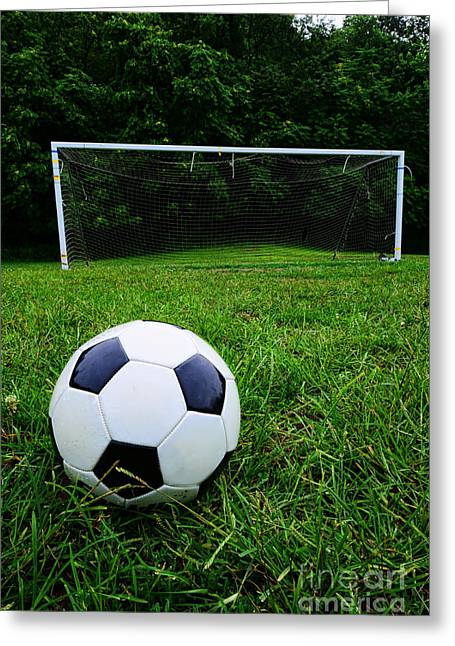 Goalkeeper Greeting Cards - Soccer Ball on Field Greeting Card by Paul Ward