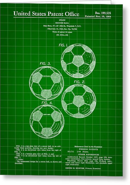 Goalkeeper Greeting Cards - Soccer Ball Patent 1964 - Green Greeting Card by Stephen Younts