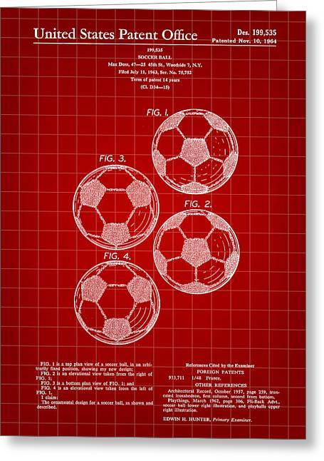 Goalkeeper Greeting Cards - Soccer Ball Patent 1964 - Red Greeting Card by Stephen Younts