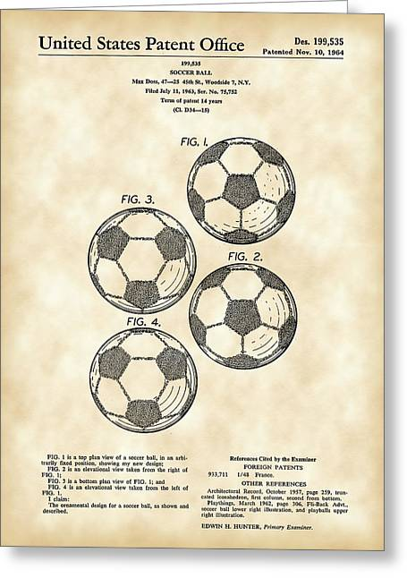 Referee Greeting Cards - Soccer Ball Patent 1964 - Vintage Greeting Card by Stephen Younts