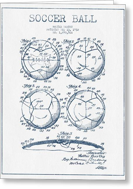 Soccer Ball Greeting Cards - Soccer Ball Patent Drawing from 1932 - Blue Ink Greeting Card by Aged Pixel
