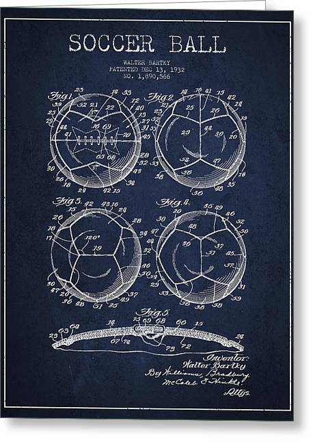 Soccer Ball Patent Drawing From 1932 - Navy Blue Greeting Card by Aged Pixel
