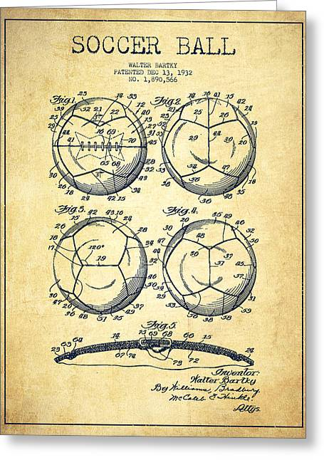 Soccer Ball Greeting Cards - Soccer Ball Patent Drawing from 1932 - Vintage Greeting Card by Aged Pixel