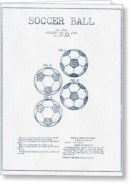 Blue Ink Greeting Cards - Soccer Ball Patent Drawing from 1964  - Blue Ink Greeting Card by Aged Pixel