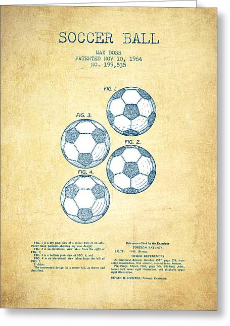 Player Digital Greeting Cards - Soccer Ball Patent Drawing from 1964 - Vintage Paper Greeting Card by Aged Pixel