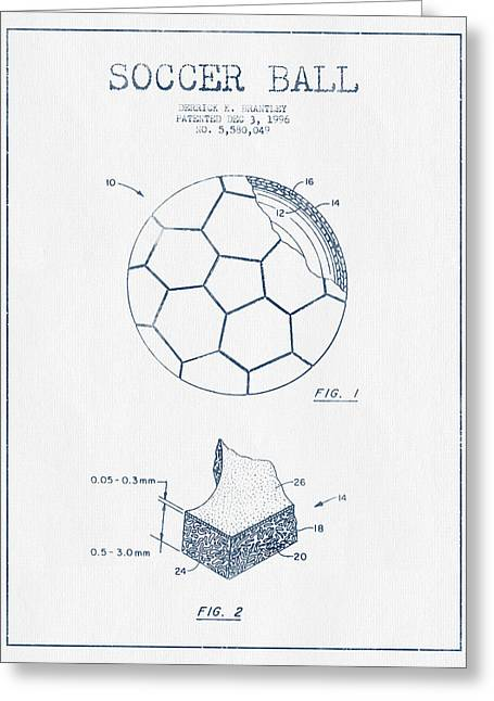 Blue Ink Greeting Cards - Soccer Ball Patent Drawing from 1996 - Blue Ink Greeting Card by Aged Pixel