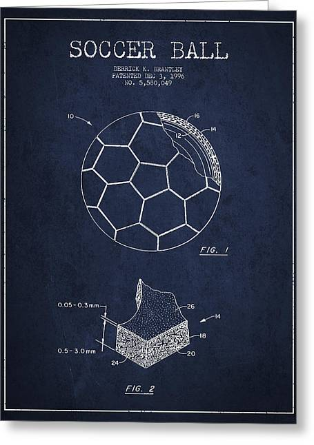 Soccer Greeting Cards - Soccer Ball Patent Drawing from 1996 - Navy Blue Greeting Card by Aged Pixel