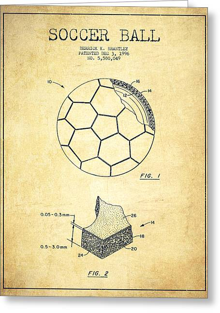 Soccer Greeting Cards - Soccer Ball Patent Drawing from 1996 - Vintage Greeting Card by Aged Pixel