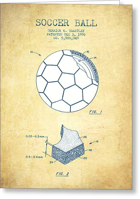 Player Digital Greeting Cards - Soccer Ball Patent Drawing from 1996 - Vintage Paper Greeting Card by Aged Pixel