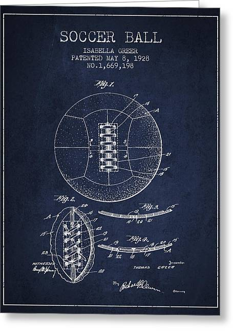 Soccer Ball Patent From 1928 Greeting Card by Aged Pixel