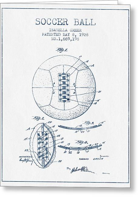 Soccer Ball Patent From 1928 - Blue Ink Greeting Card by Aged Pixel