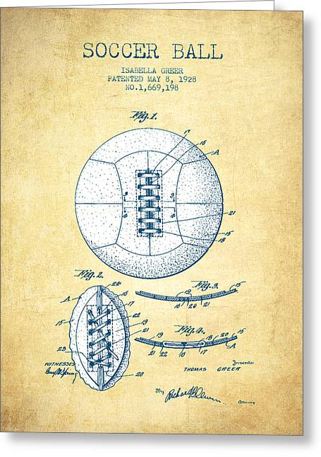 Player Digital Greeting Cards - Soccer Ball Patent from 1928 - Vintage Paper Greeting Card by Aged Pixel