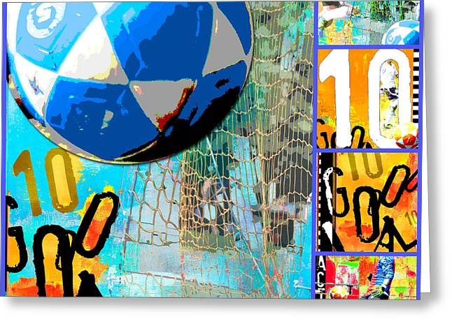 Juvenile Wall Decor Mixed Media Greeting Cards - Soccer Futbol Collage Greeting Card by ArtyZen Studios - ArtyZen Home
