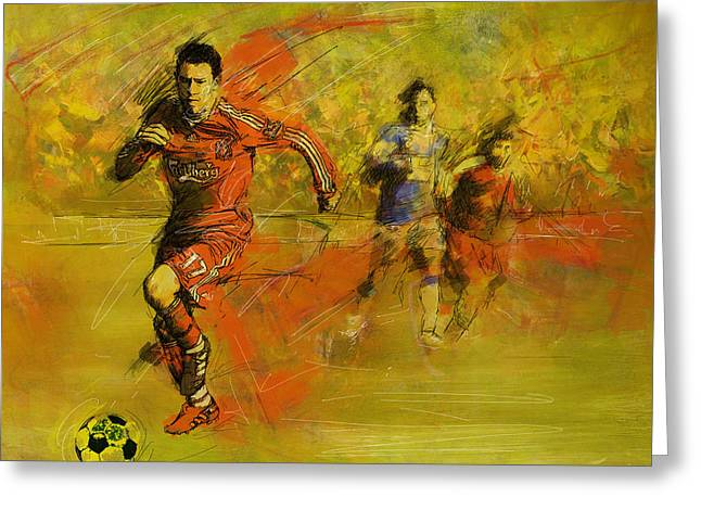 American Football Paintings Greeting Cards - Soccer  Greeting Card by Corporate Art Task Force