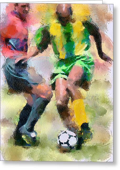 Stadium Design Greeting Cards - Soccer Fight Greeting Card by Yury Malkov