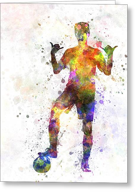 Camera Paintings Greeting Cards - Soccer Football Player Young Man Saluting Greeting Card by Pablo Romero