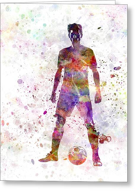 Strength Paintings Greeting Cards - Soccer Football Player Young Man Standing Defiance  Greeting Card by Pablo Romero