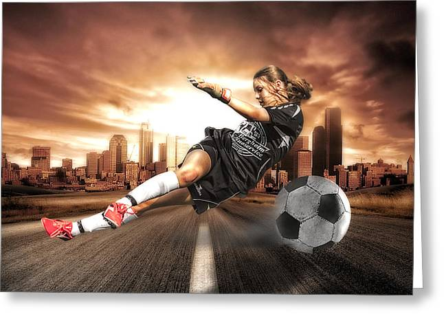 Teen Greeting Cards - Soccer Girl Greeting Card by Erik Brede