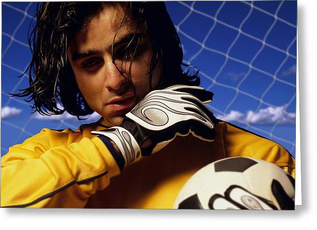 Goaltender Greeting Cards - Soccer Goalkeeper In Net Greeting Card by Don Hammond