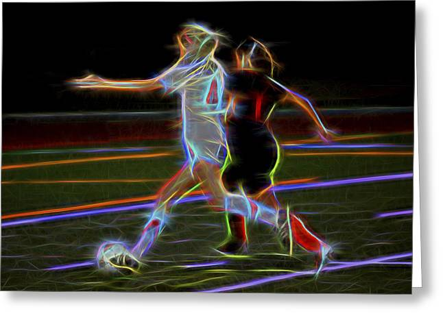 Dribble Greeting Cards - Soccer Graphic Greeting Card by Kelley King