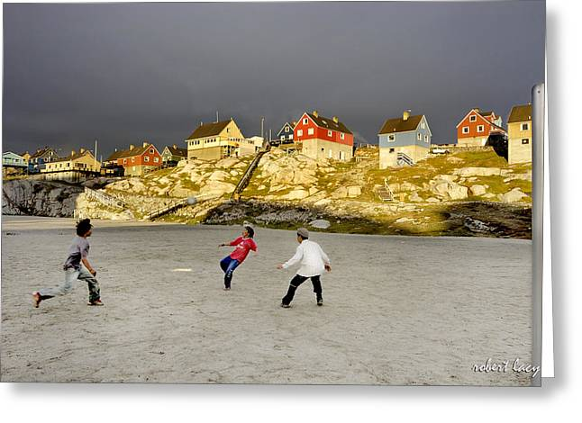 Greenland Greeting Cards - Soccer in Greenland Greeting Card by Robert Lacy