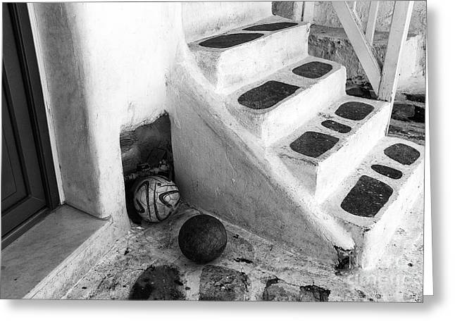 Stone Steps Greeting Cards - Soccer in Mykonos mono Greeting Card by John Rizzuto