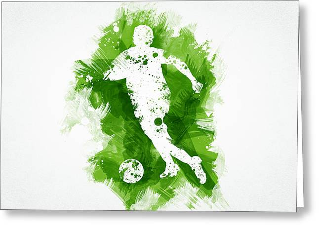 Field Mixed Media Greeting Cards - Soccer Player Greeting Card by Aged Pixel