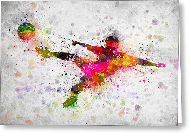 Soccer Player Greeting Cards - Soccer Player - Flying Kick Greeting Card by Aged Pixel