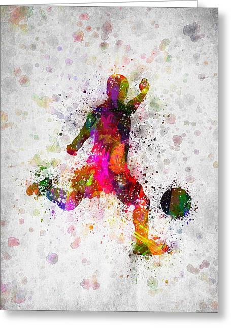 Soccer Player - Kicking Ball Greeting Card by Aged Pixel