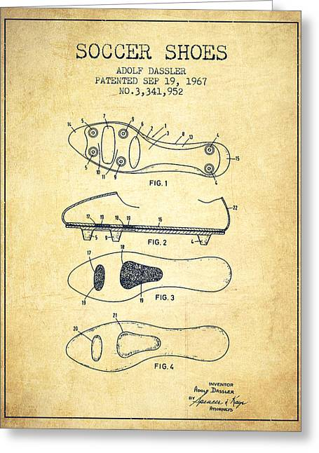 Boots Greeting Cards - Soccer Shoe Patent from 1967 - Vintage Greeting Card by Aged Pixel