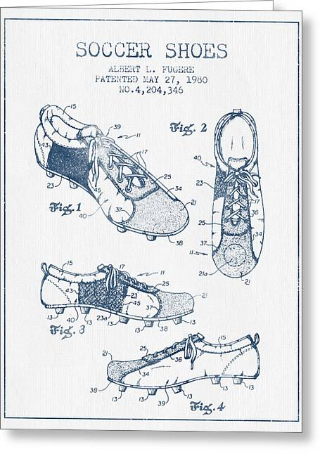 Soccer Shoe Patent From 1980 - Blue Ink Greeting Card by Aged Pixel
