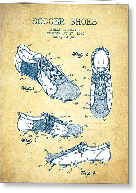 Player Digital Greeting Cards - Soccer Shoe Patent from 1980 - Vintage Paper Greeting Card by Aged Pixel