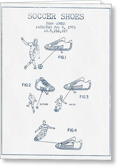 Soccer Ball Greeting Cards - Soccer Shoes Patent from 1993  - Blue Ink Greeting Card by Aged Pixel