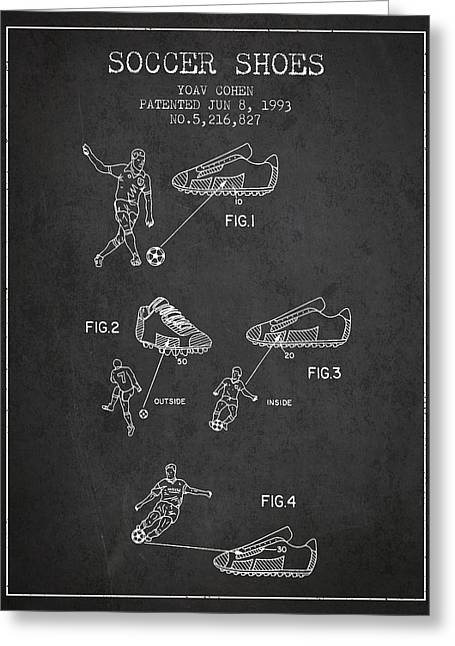 Soccer Ball Greeting Cards - Soccer Shoes Patent from 1993 - Dark Greeting Card by Aged Pixel