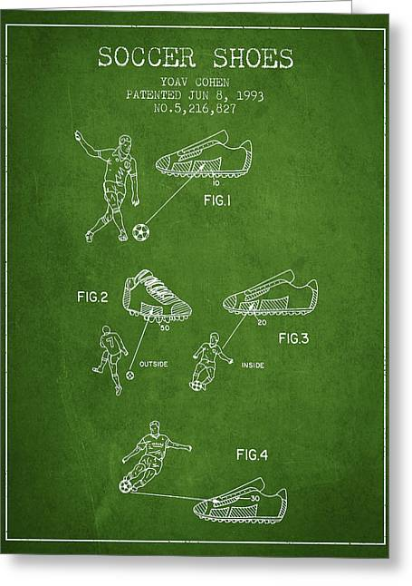Soccer Ball Greeting Cards - Soccer Shoes Patent from 1993 - Green Greeting Card by Aged Pixel