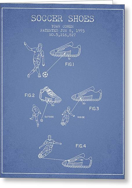 Soccer Ball Greeting Cards - Soccer Shoes Patent from 1993 - Light Blue Greeting Card by Aged Pixel