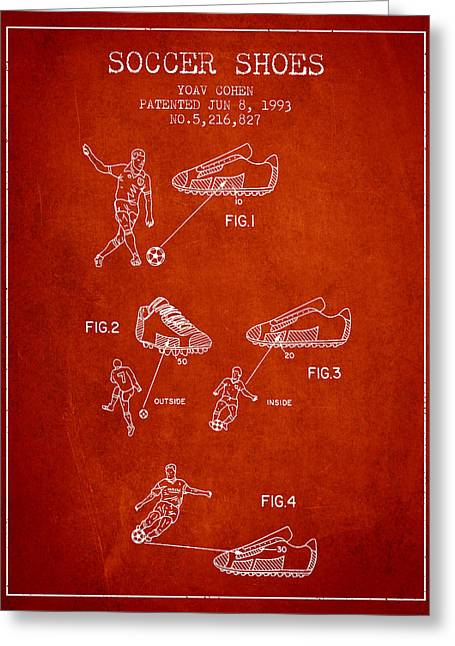 Soccer Ball Greeting Cards - Soccer Shoes Patent from 1993 - Red Greeting Card by Aged Pixel