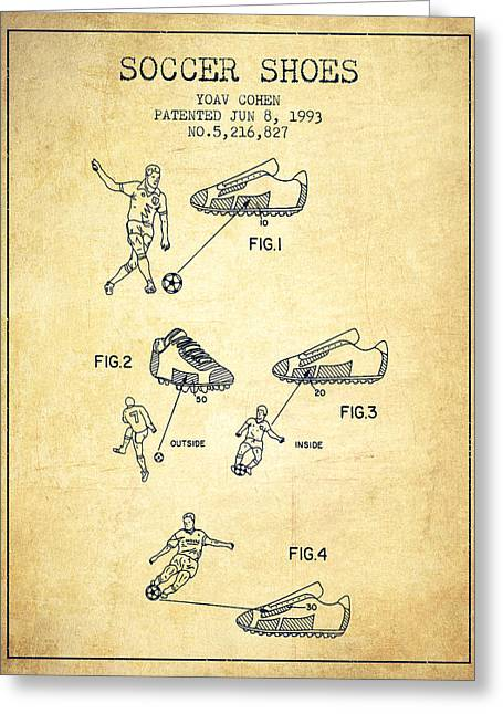 Soccer Ball Greeting Cards - Soccer Shoes Patent from 1993 - Vintage Greeting Card by Aged Pixel